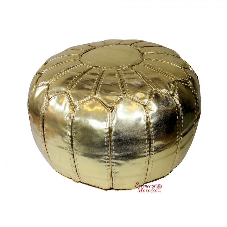 Moroccan Pouffe Pouf Ottoman Footstool STUFFED Gold Faux Leather Hand Stitched
