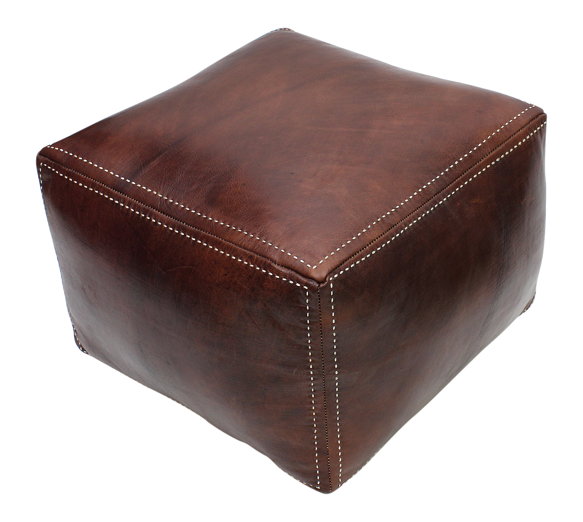 Awesome Moroccan Square Pouffe Pouf Ottoman Footstool In Real Brown Tan Leather 45X45X35 Cm 18X18X14 In Ncnpc Chair Design For Home Ncnpcorg
