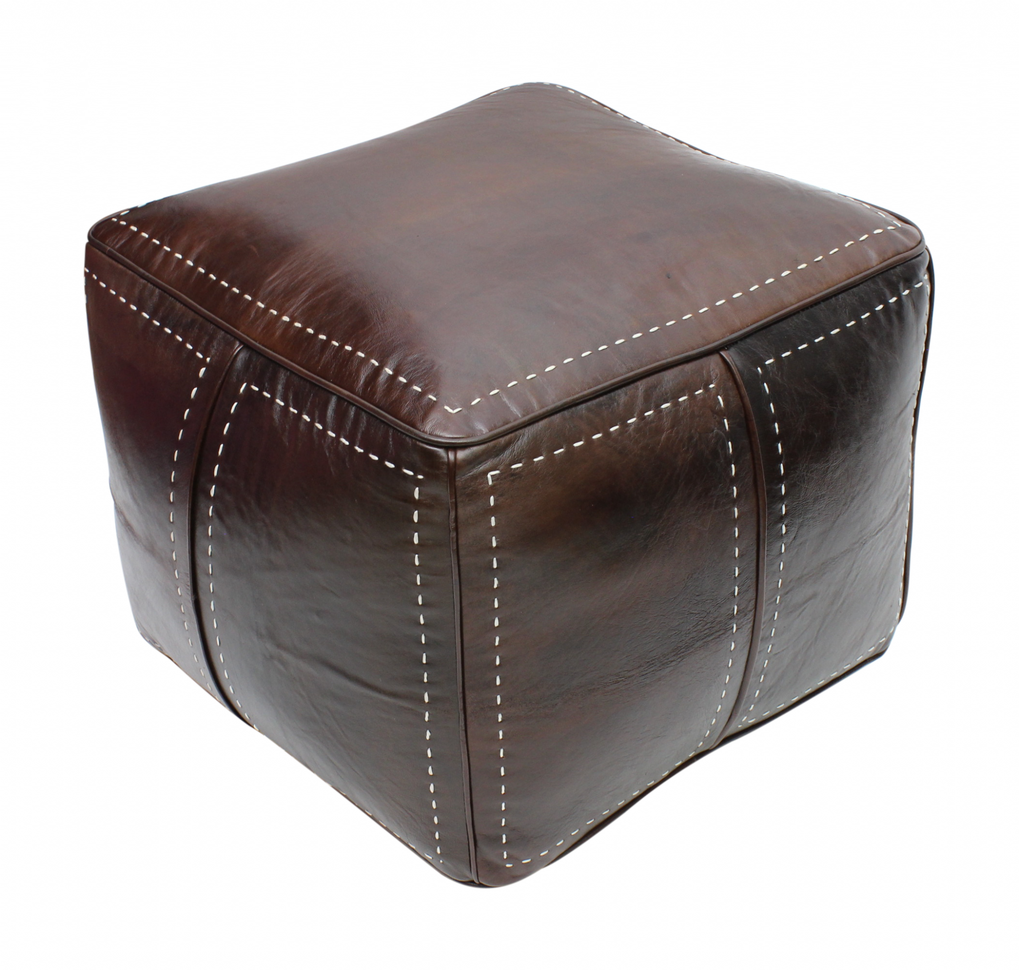 Strange Moroccan Square Pouffe Pouf Ottoman Footstool In Real Dark Brown Tan Leather 50X50X40 Cm 20X20X16 In Ncnpc Chair Design For Home Ncnpcorg