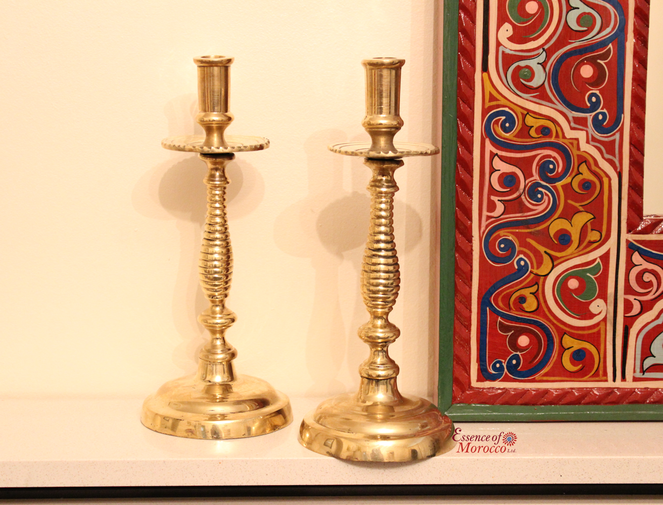 Moroccan Vintage Brass Candle Holders Pair in Solid Brass Handmade